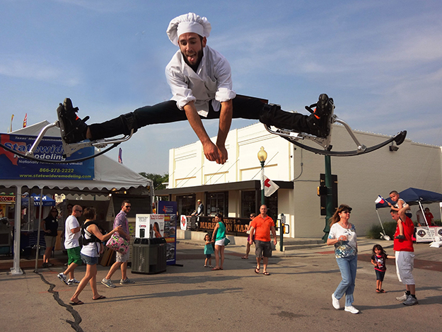 Jump-Stilt Performers, Pizza, and a Goofy Grape Stilt Walker–What's Not to Like?