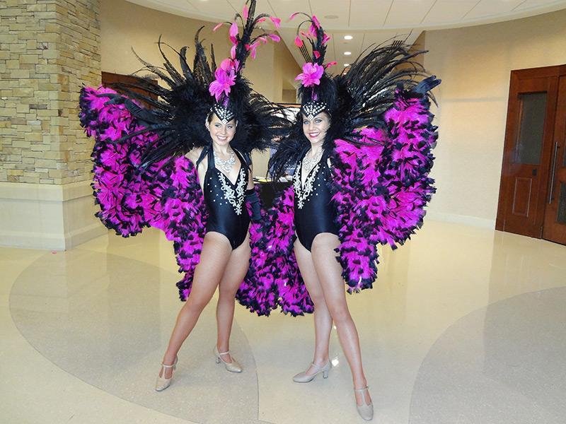 Showgirls posing