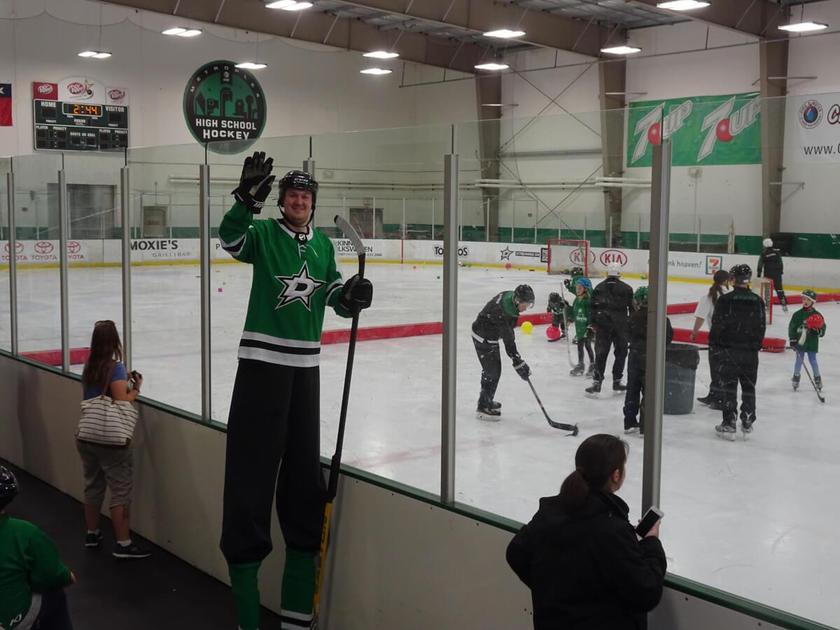 Hockey player on stilts